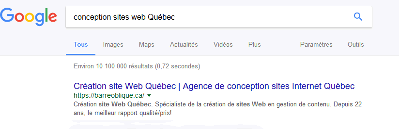 conception sites web Québec - Google